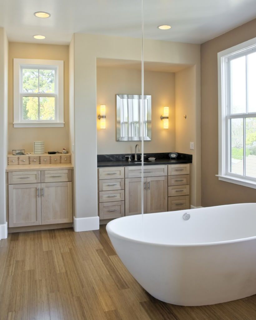 90 Primary Bathrooms With Hardwood Flooring Photos Hardwood Floors In Bathroom Wood Floor Bathroom Bathroom Flooring