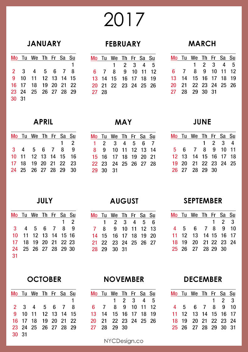 2017 Printable Calendars | Printable Calendar 2017