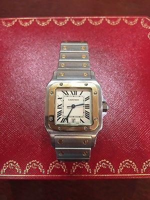 Cartier Santos Date Quartz Gold 18k & Steel 1566 Men's Watch.. USD 1400.0
