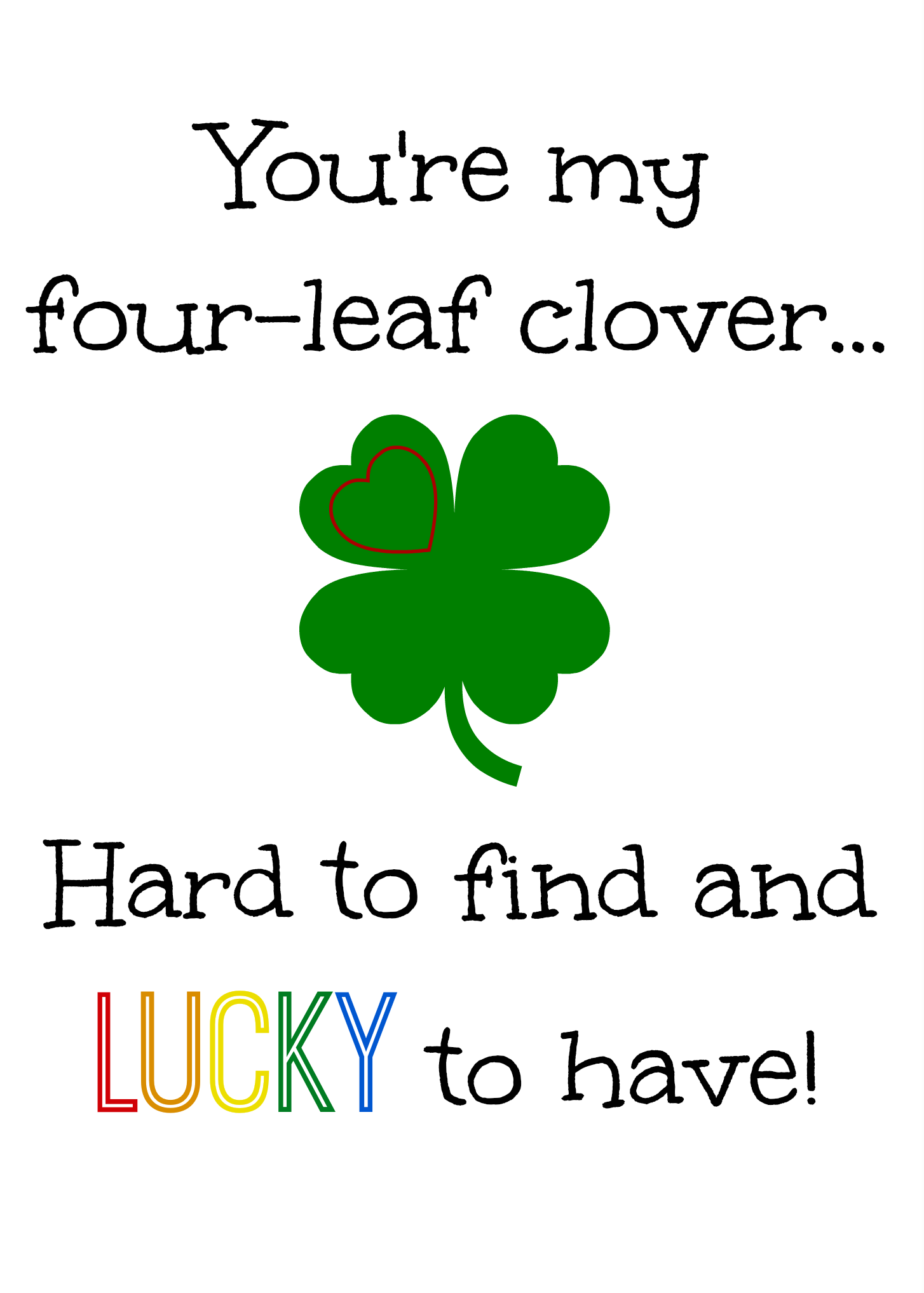 You Re My Four Leaf Clover Free Printable For St Patrick S Day