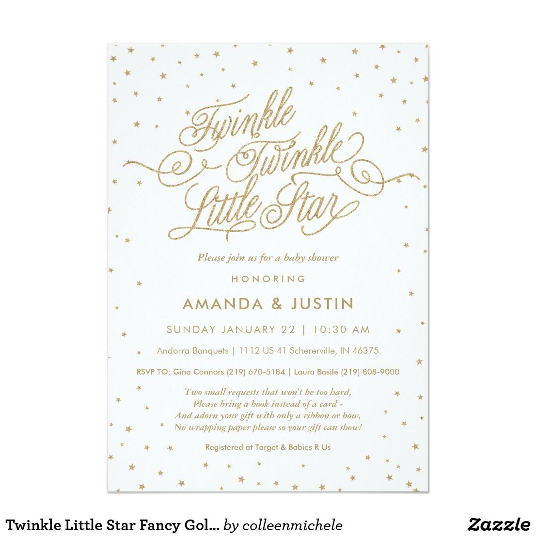 Twinkle Little Star Fancy Gold & White Baby Shower Card | White ...