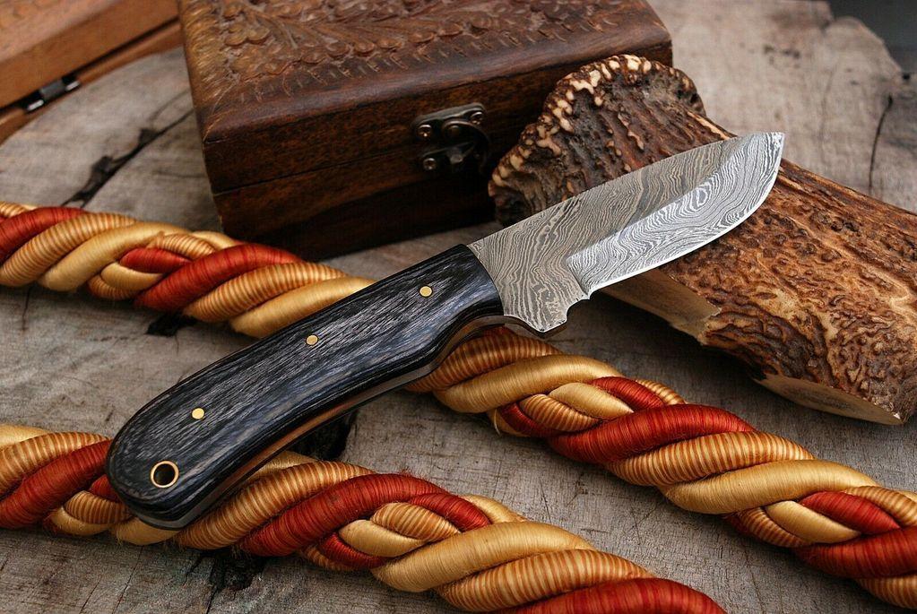 Knives Zone Custom Made Damascus Steel Skinning Knife