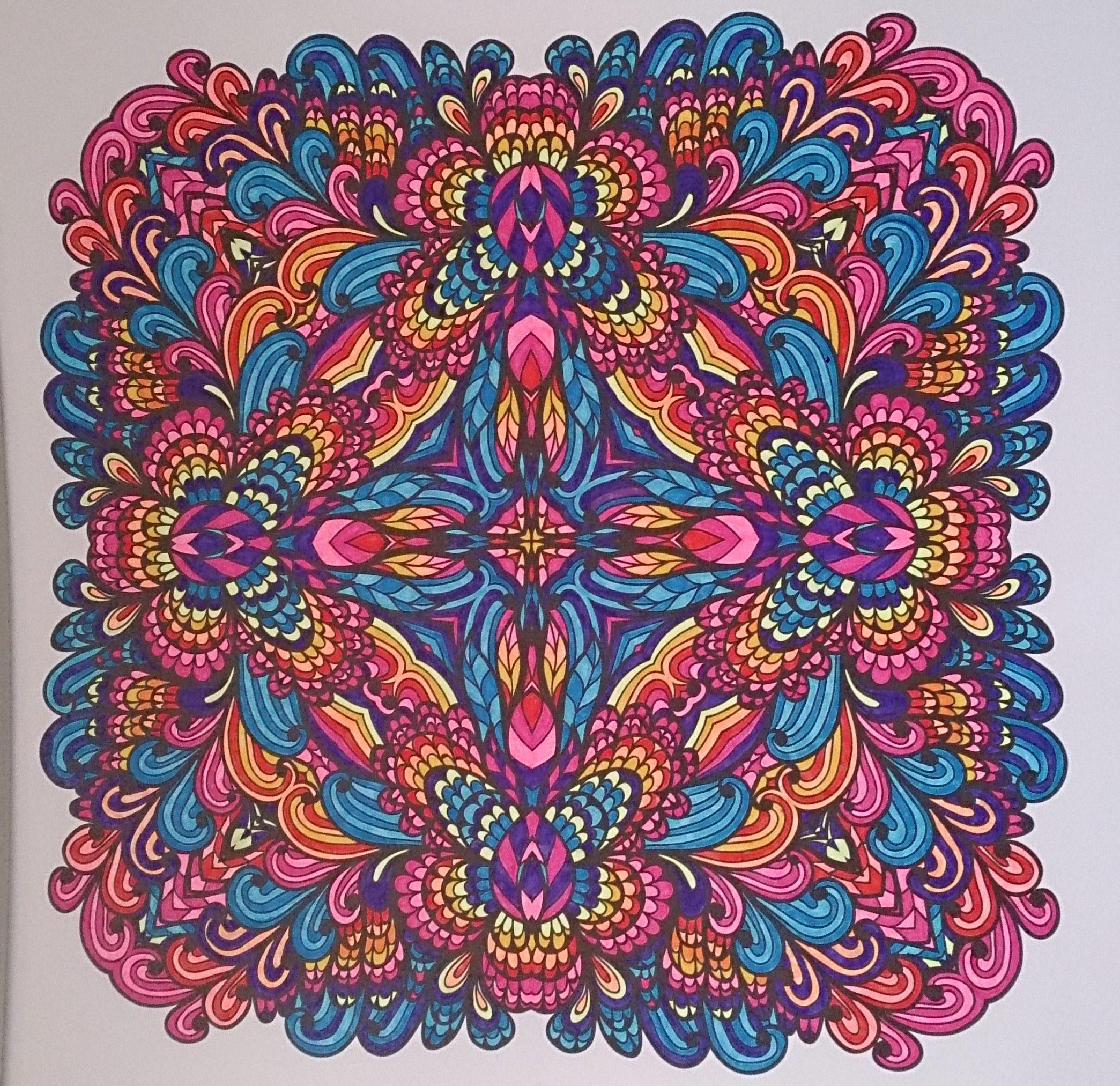 Ingekleurd Met Stabilo 68 Uit Het Enige Echte Mandala Kleurboek Mandala Kleurplaten Mandala Kleurboek