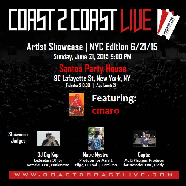 I'm performing at NYC Edition 6/21/15! For tickets: http://c2c.fm/Ge64S  #Coast2Coast