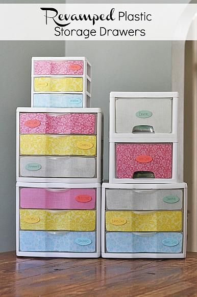 40 Fun And Colorful Decoupage Projects Big Diy Ideas Plastic Storage Drawers Diy Drawers Craft Room Storage