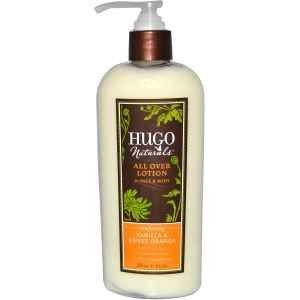 Hugo Naturals All Over Lotion, Vanilla and Sweet Orange, 8 Ounce by Hugo Naturals. $7.99. No aimal testing.. Vegan.. Gluten and soy free.. Super-moisturizing shea butter enrichedwith pure botanical extracts—for deephydration that feels simply amazing.Never Any: parabens, phenoxyethanol, SLS,PEGs, propylene glycol, petroleum products,artificial colors or synthetic fragrances.. Save 20% Off!