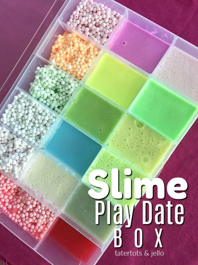 Slime Play Date Travel Box is part of Slime and squishy, Slime, Homemade slime, Slime box, Slime containers, Diy slime recipe - How to make a travel slime travel box  Fill the box with your child's favorite slime so they can transport their slime and to play with and show it off!
