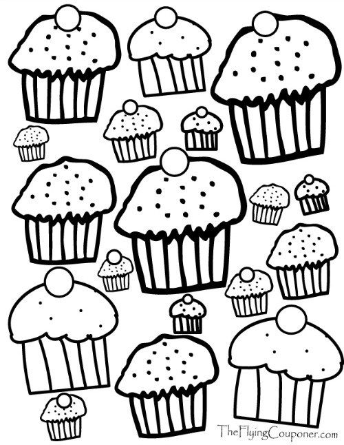 Free Coloring Pages for Adults and Kids Cupcake Lover free