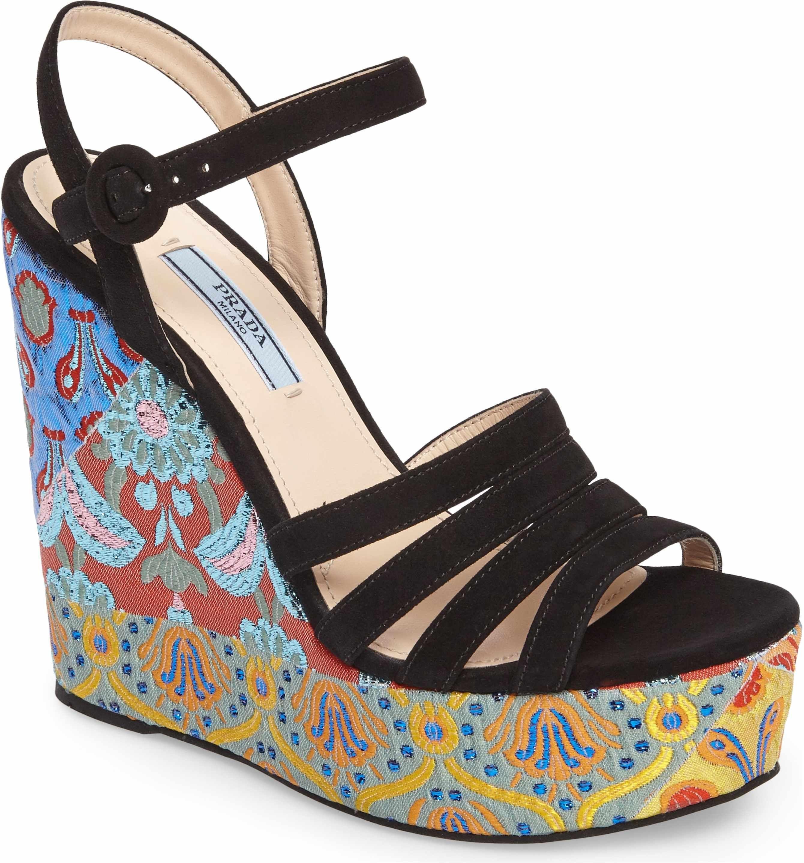 07683d59fb1 Main Image - Prada Floral Platform Wedge Sandal (Women)