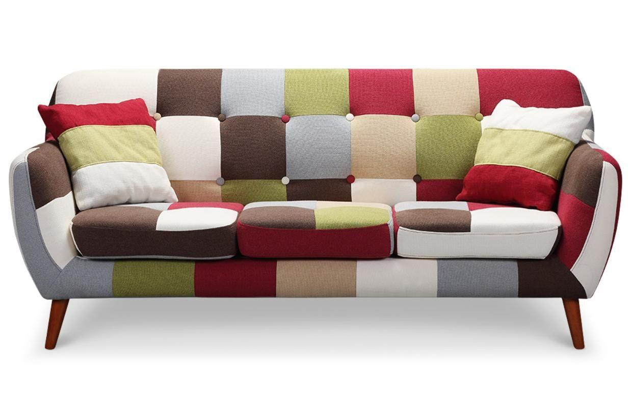 Canap 3 places patchwork multicolore canap chaise sofa chaise longue et sofa - Canape tres confortable ...