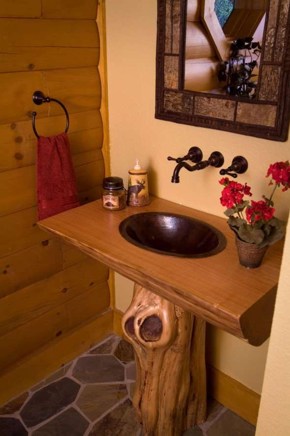Rustic Half Bath With Hammered Copper Basin And Tree Stump