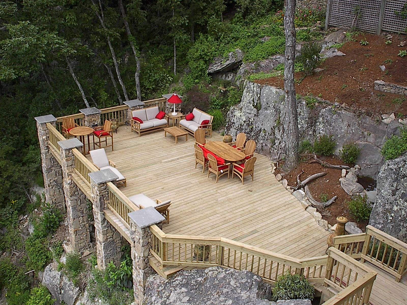 deck over looking the garden | Sloped backyard, Decks ... on Steep Hill Backyard Ideas id=38153