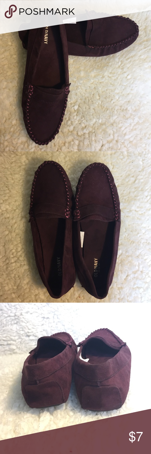 Maroon slip ons Loving the maroon color! Worn at least 3 times. Have a bright pink thread color on the sides. Grips on the bottom to not slip! Old Navy Shoes Flats & Loafers