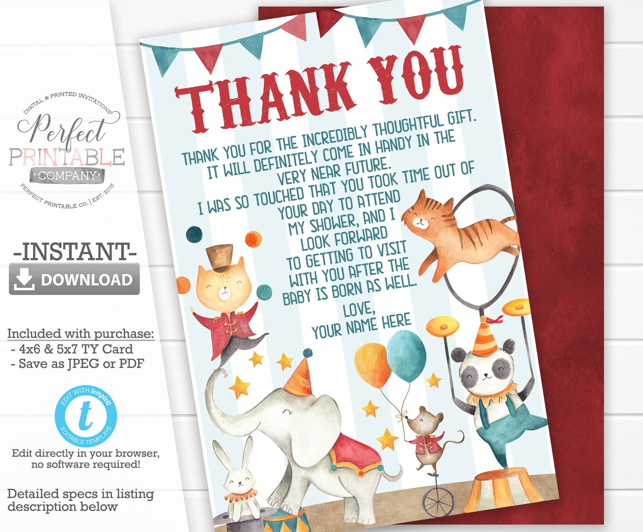Circus Animal Baby Shower Thank You Card Circus Baby Shower Thank