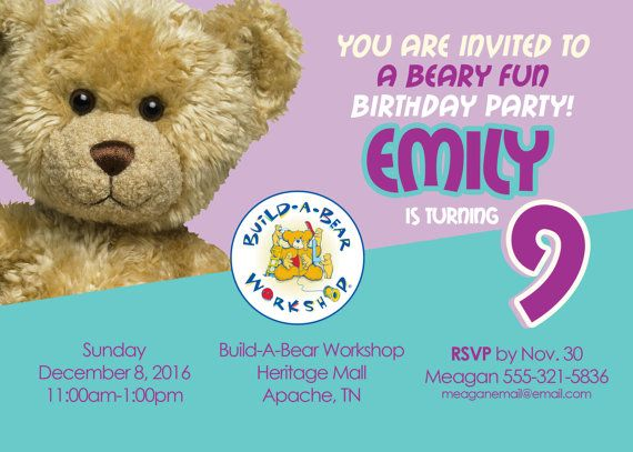 Build A Bear Party Invitation Custom by ScriptureWallArt on Etsy
