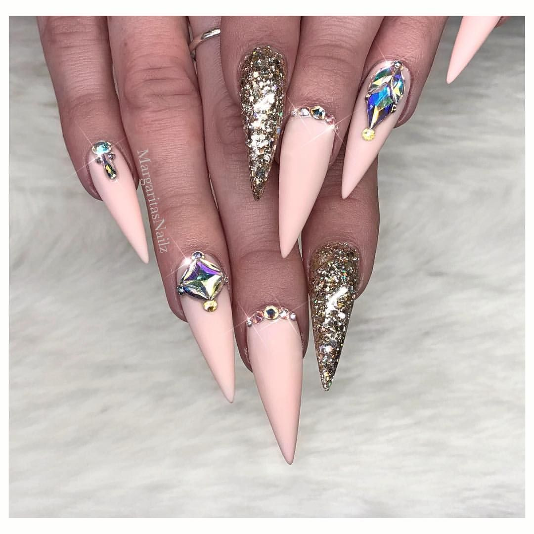 Nude Pink Matte Stilettos Glitter And Bling Nail Art Design Spring