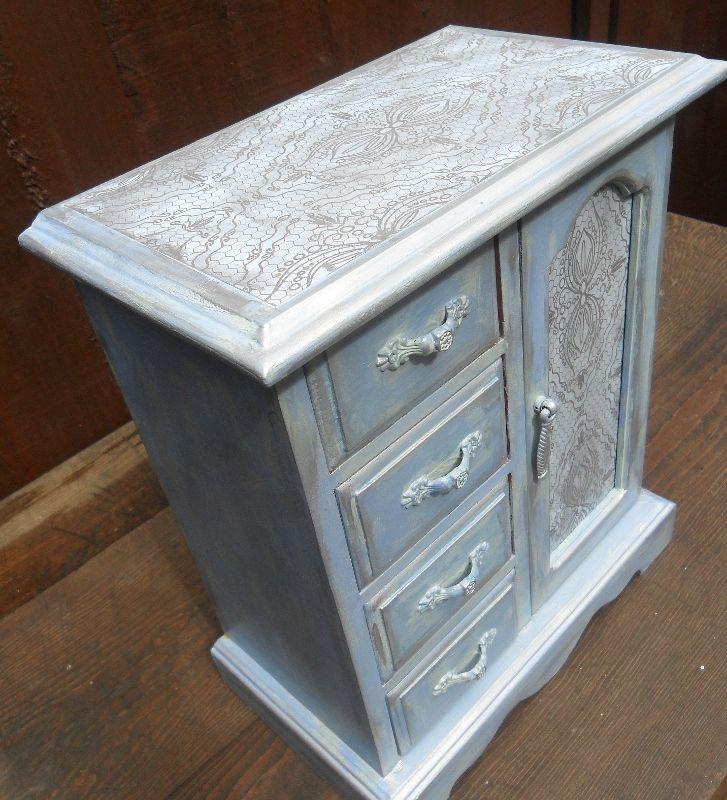 Shabby Chic Cottage Style Blue Silver Amoire Jewellery Box, £40.00