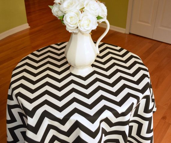 Marvelous Round Tablecloth Black / White Chevron Zig By Beeyourselfdesigns