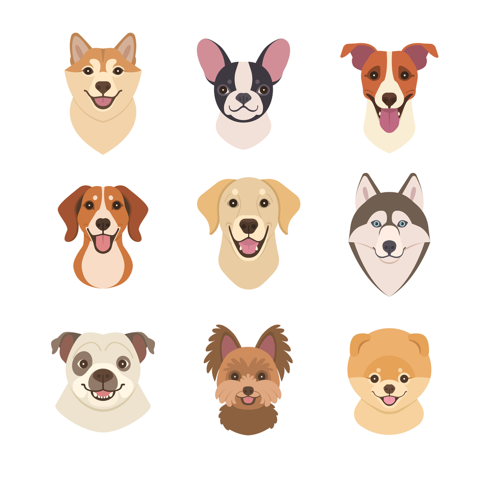 Dogs Faces Collection Vector Illustration Funny In 2020 Dog Face Drawing Dog Icon Cartoon Dog