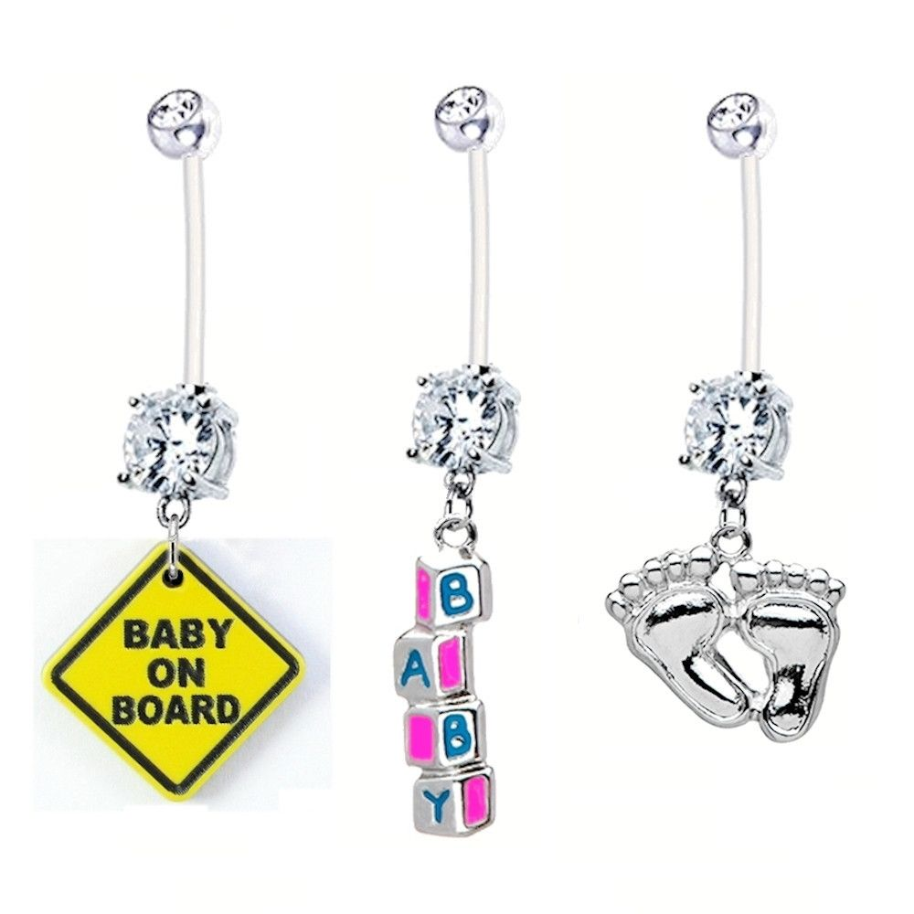 Pregnancy Belly Button Rings 3 Pack Baby On Board Baby Feet Baby