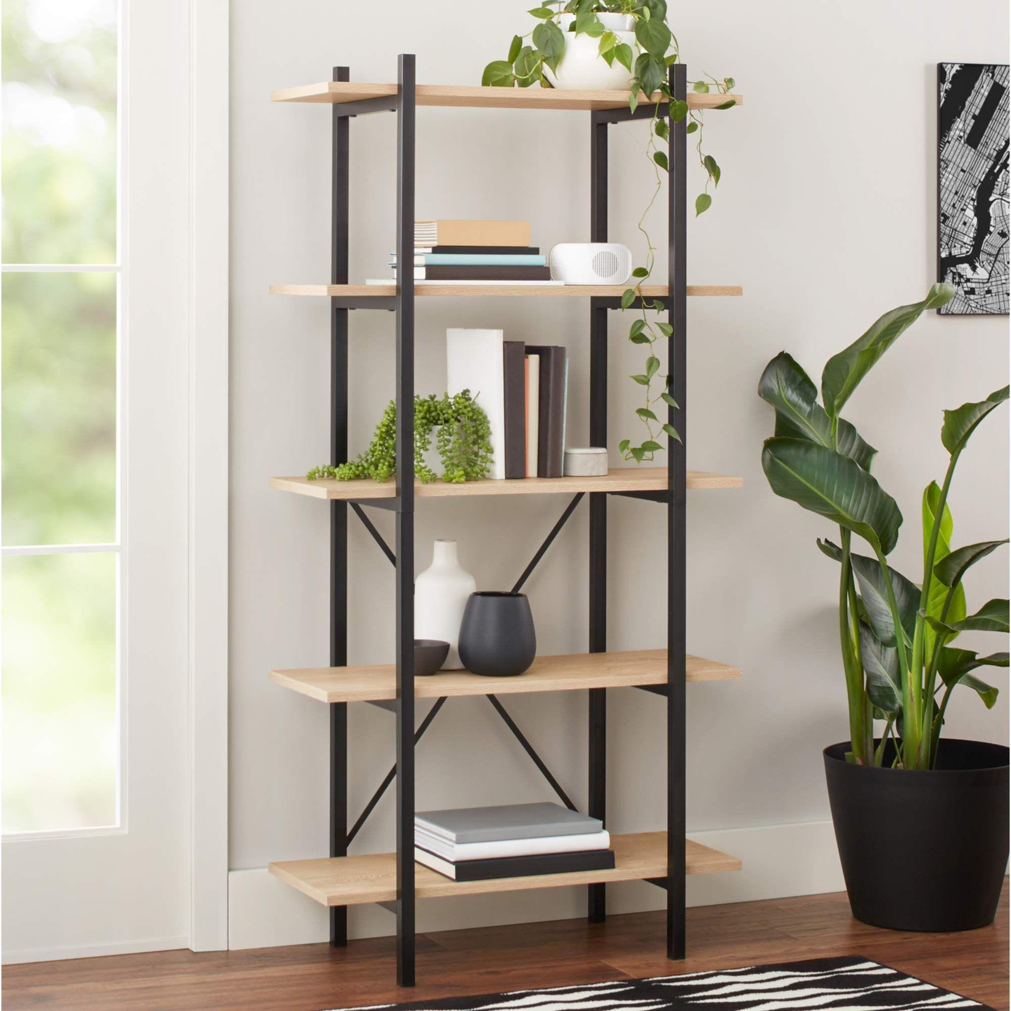 Mainstays 63 Conrad 5 Shelf Bookcase Black Walmart Com 5