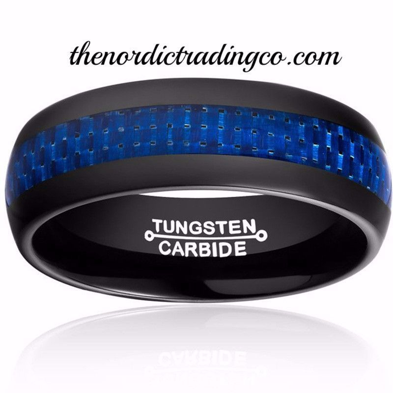 Blue Lives Matter In Black Tungsten Carbide Thin Line Carbon Fiber Inlay Mens Couples