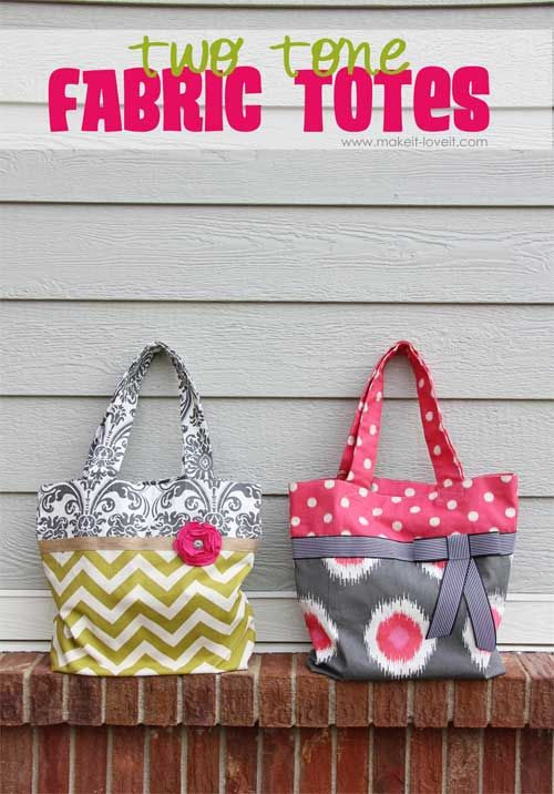 Two Tone Fabric Tote Free Sewing Tutorial Bags And Purses