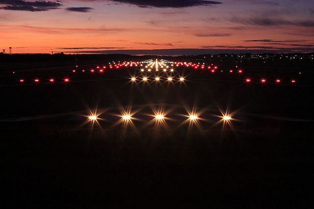 Runway Lights Airfield Lighting Edinburgh Airport Scotland Uk