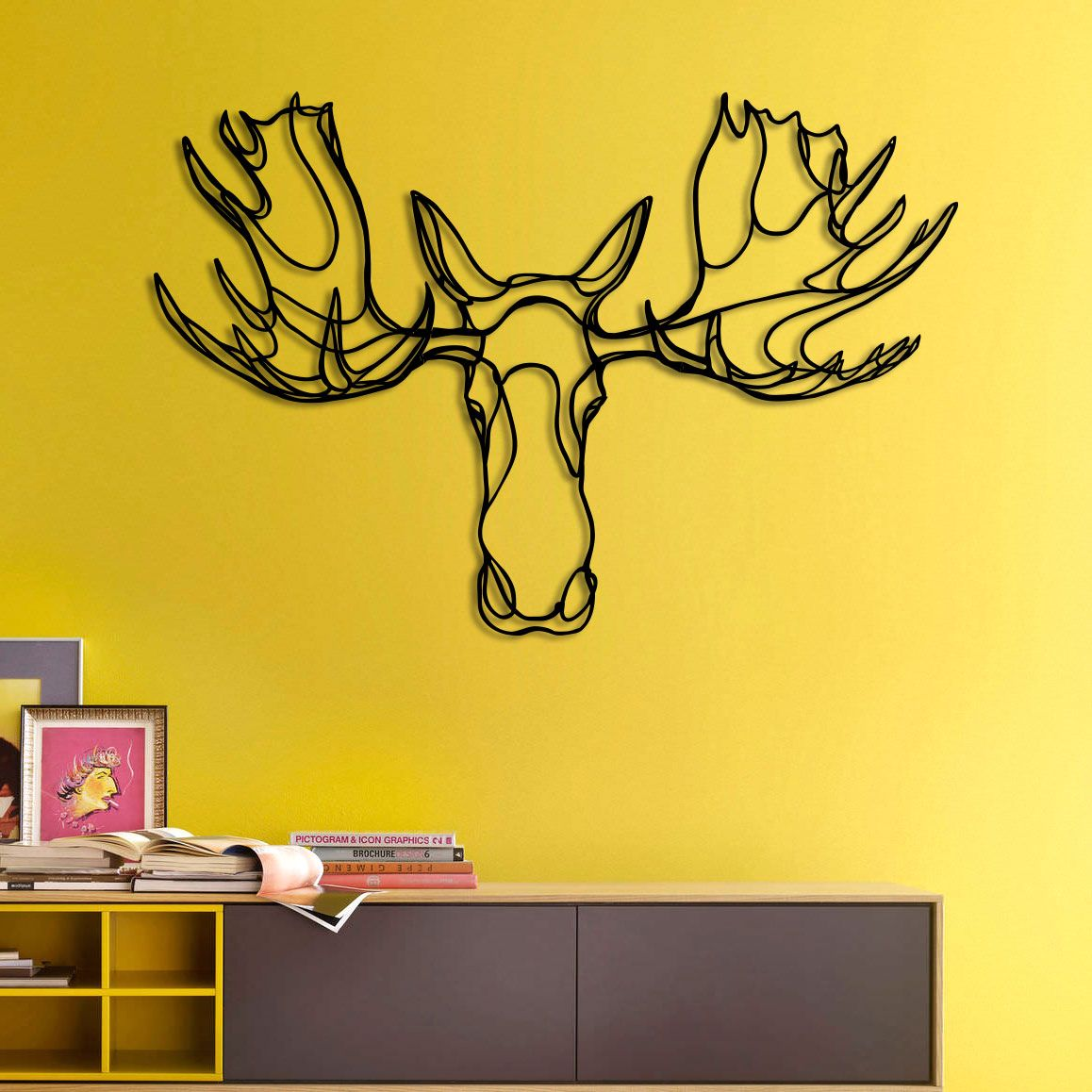 Design sign Moose Head Trophy is an animal wall art wood sign part ...