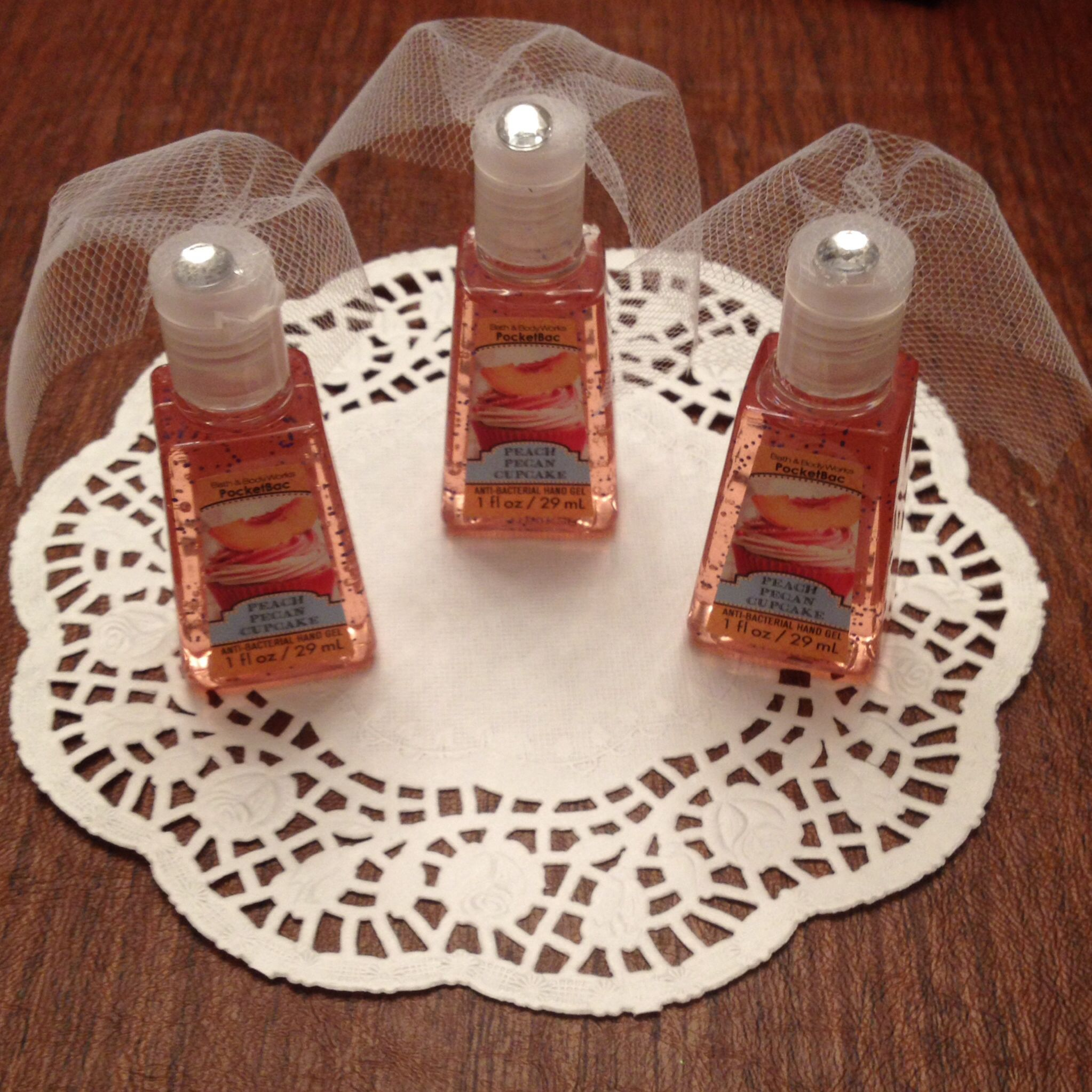 Hand sanitizer with little tule veils for bridal shower for Hand sanitizer bridal shower favors