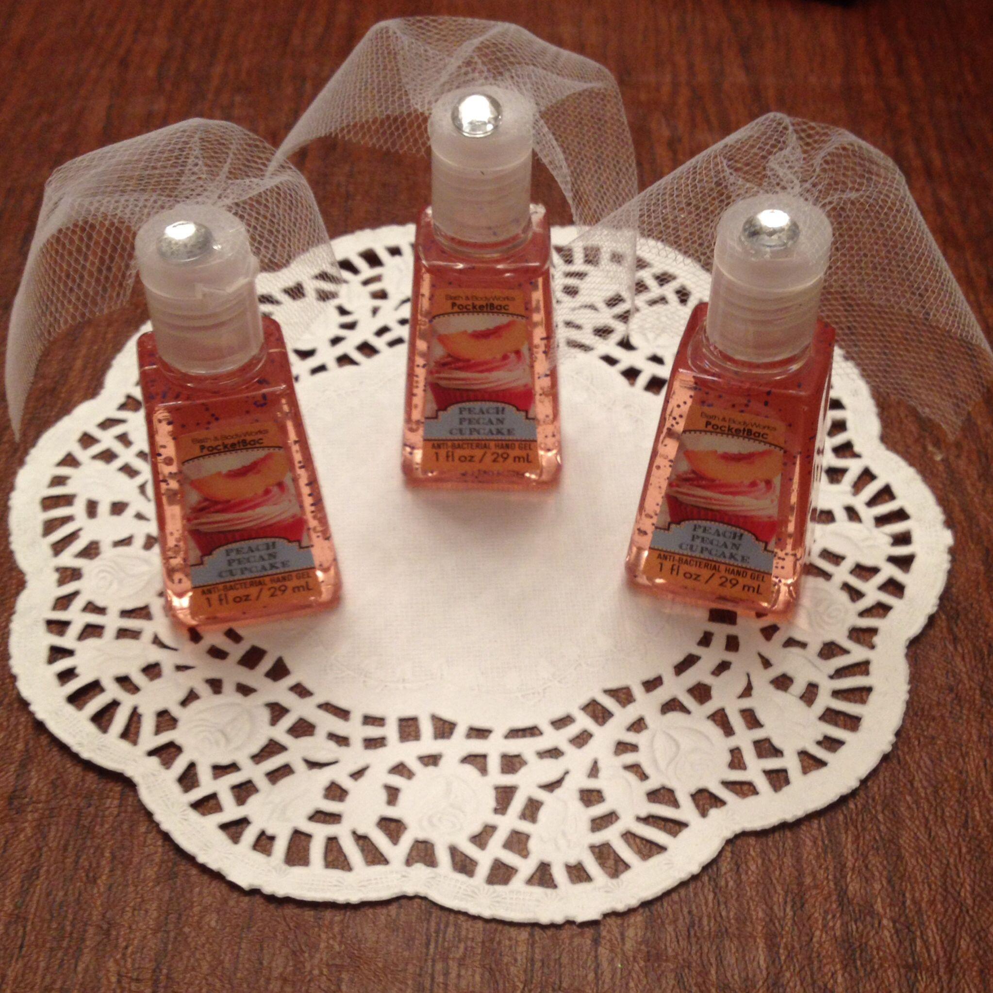 Hand sanitizer with little tule veils for bridal shower ...