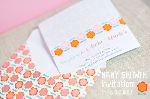 digital products - printable Baby shower invitation by PinkNounou