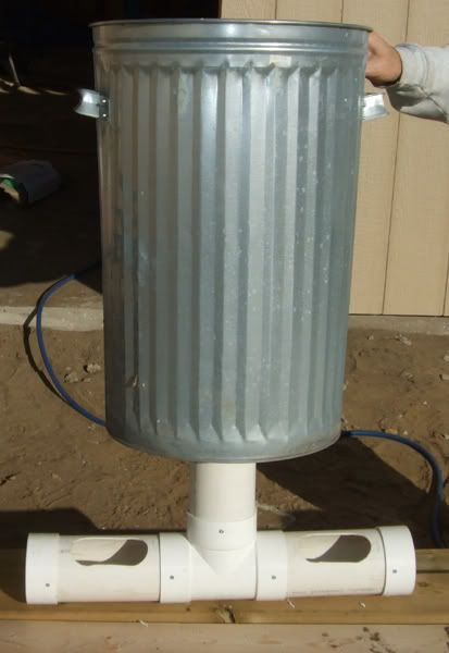 Gravity Feeder With Pvc And A Galvanized Garbage Pail