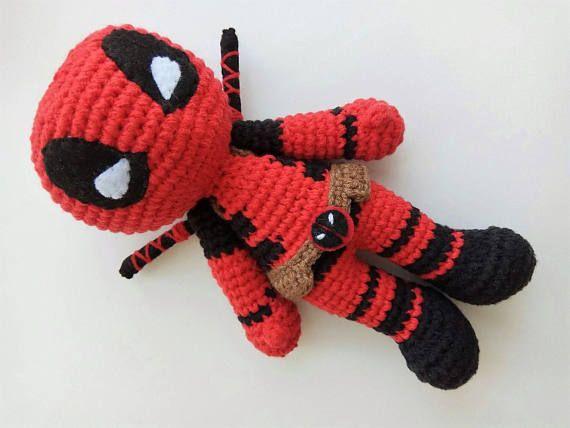 Deadpool crochet doll Amigurumi Deadpoll toy Marvel comics superhero ...