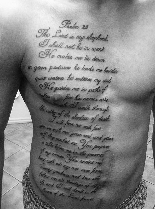 40 Psalm 23 Tattoo Designs For Men Bible Verse Ink Ideas Tats