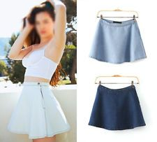 Women Vintage Classic High Waist Pleated Flared Circle Skater Denim Jeans Skirt