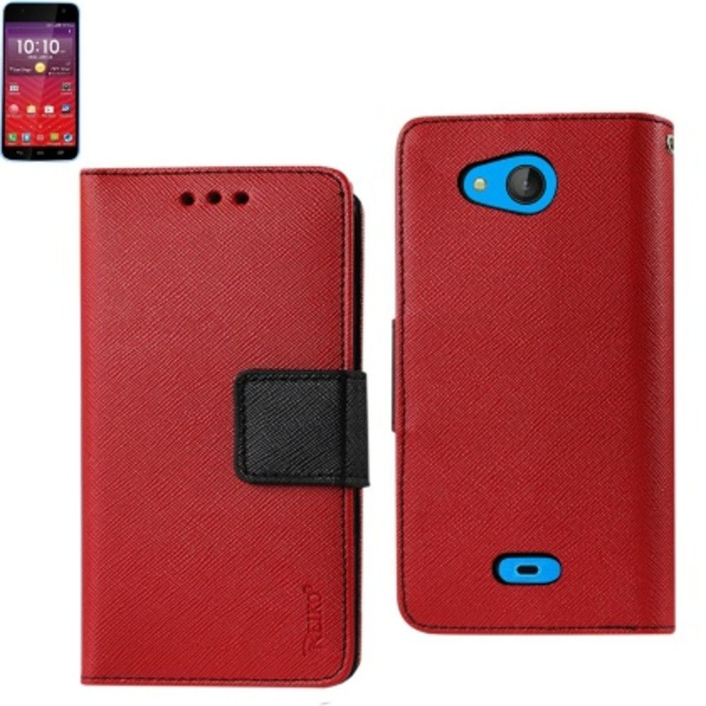 Reiko Wallet Case 3 In 1 For Kyocera Hydro Wave/ Hydro Air/ C6740 With Interior Leather-Like Material & Polymer Cover Red