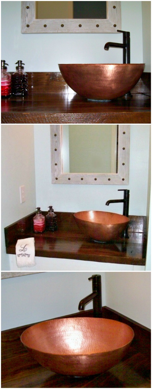 A Round Copper Vessel Bathroom Sink with Thick Walls Installed