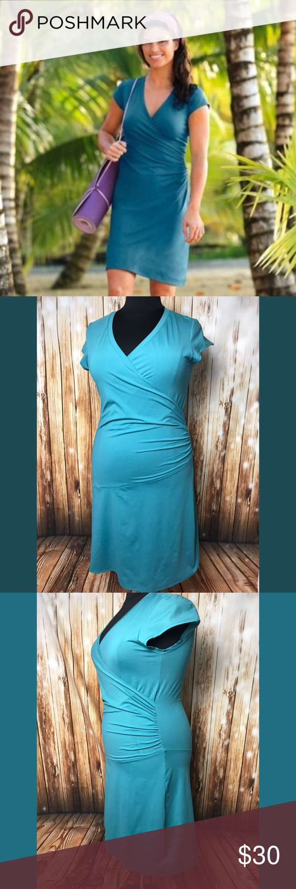 Athleta Nectar Dress Plus Teal Yoga Wrap 1X Clothes