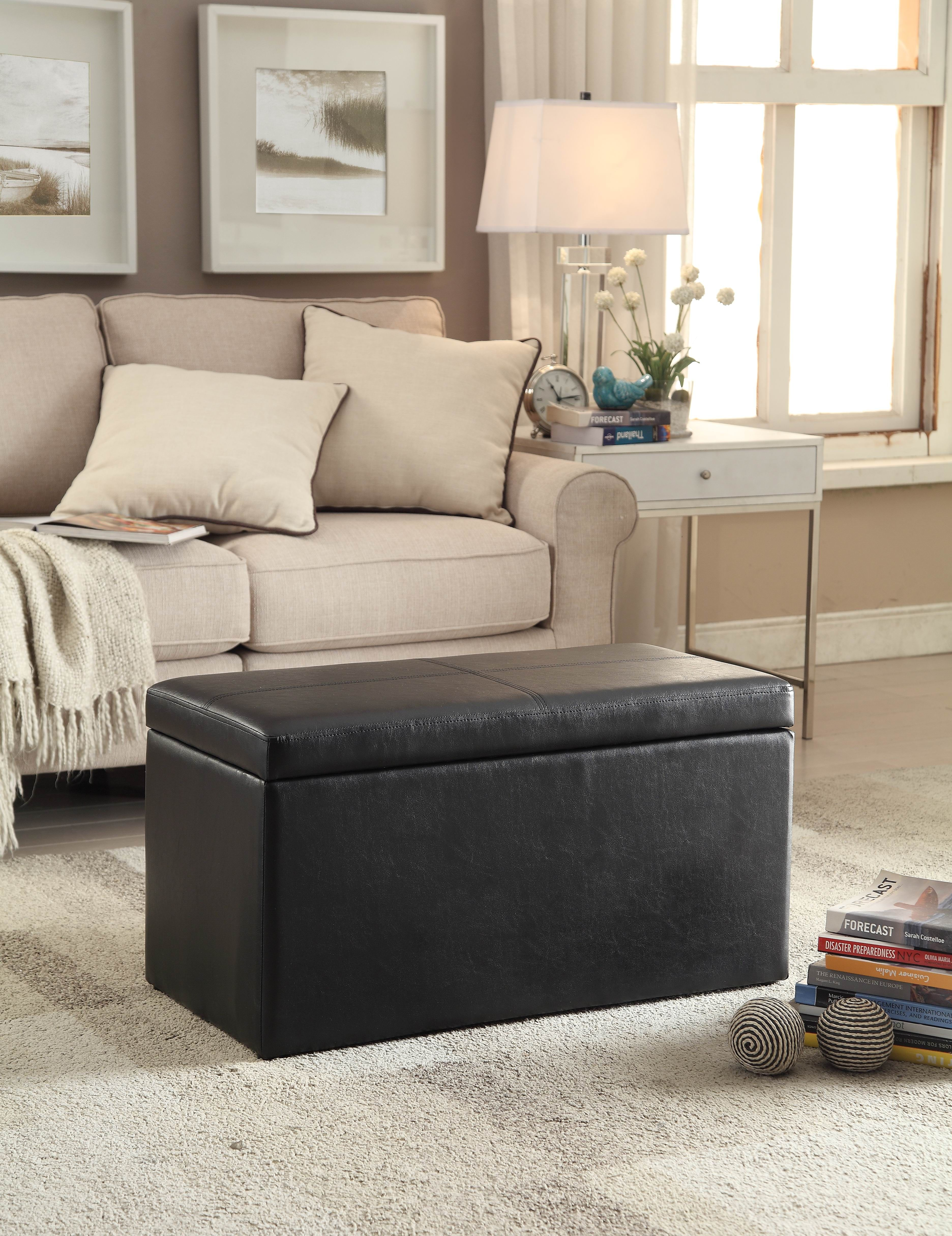 Astonishing Buy 30 Inch Hinged Storage Ottoman Black At Walmart Com Andrewgaddart Wooden Chair Designs For Living Room Andrewgaddartcom