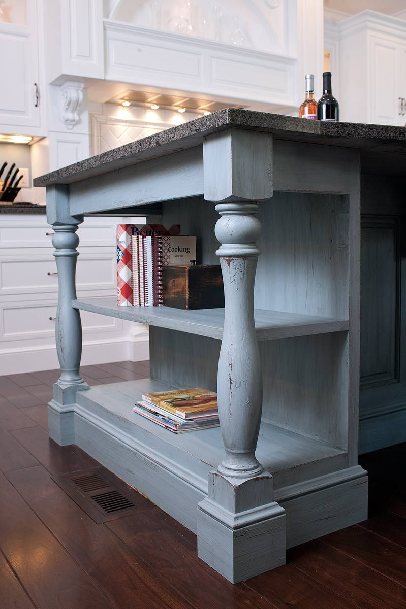 Lovely Kitchen Island With Bookshelf #9: Cookbook Bookshelf On Island With Massive, Turned Corner Post Legs. Love  These Legs And