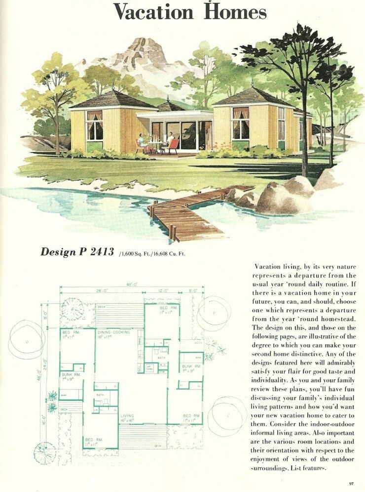 Vintage 1960s midcentury family vacation house plans for 1960s home floor plans