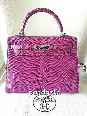 8885e65e4c LIMITED-100-Authentic-Hermes-25-Kelly-Lizard-Sellier-CHROME-5L-Extra-Violet