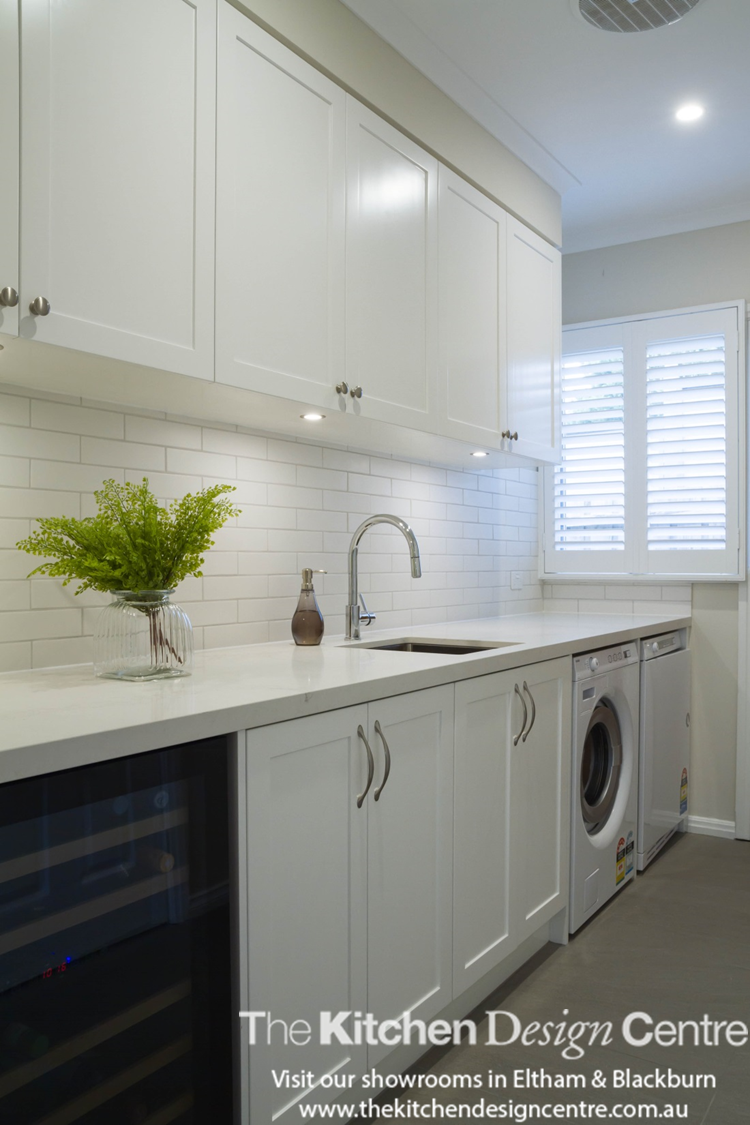 A modern take on a traditionally inspired kitchen. Large, open bay ...