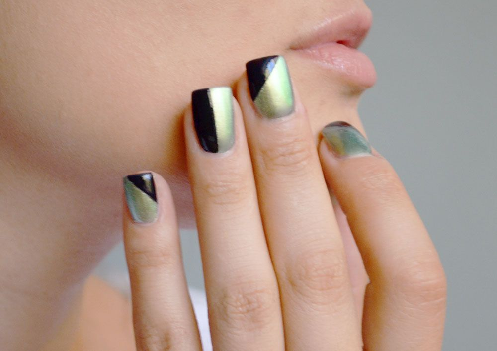 Simple Nail Art: Holographic Green and Geometric Black