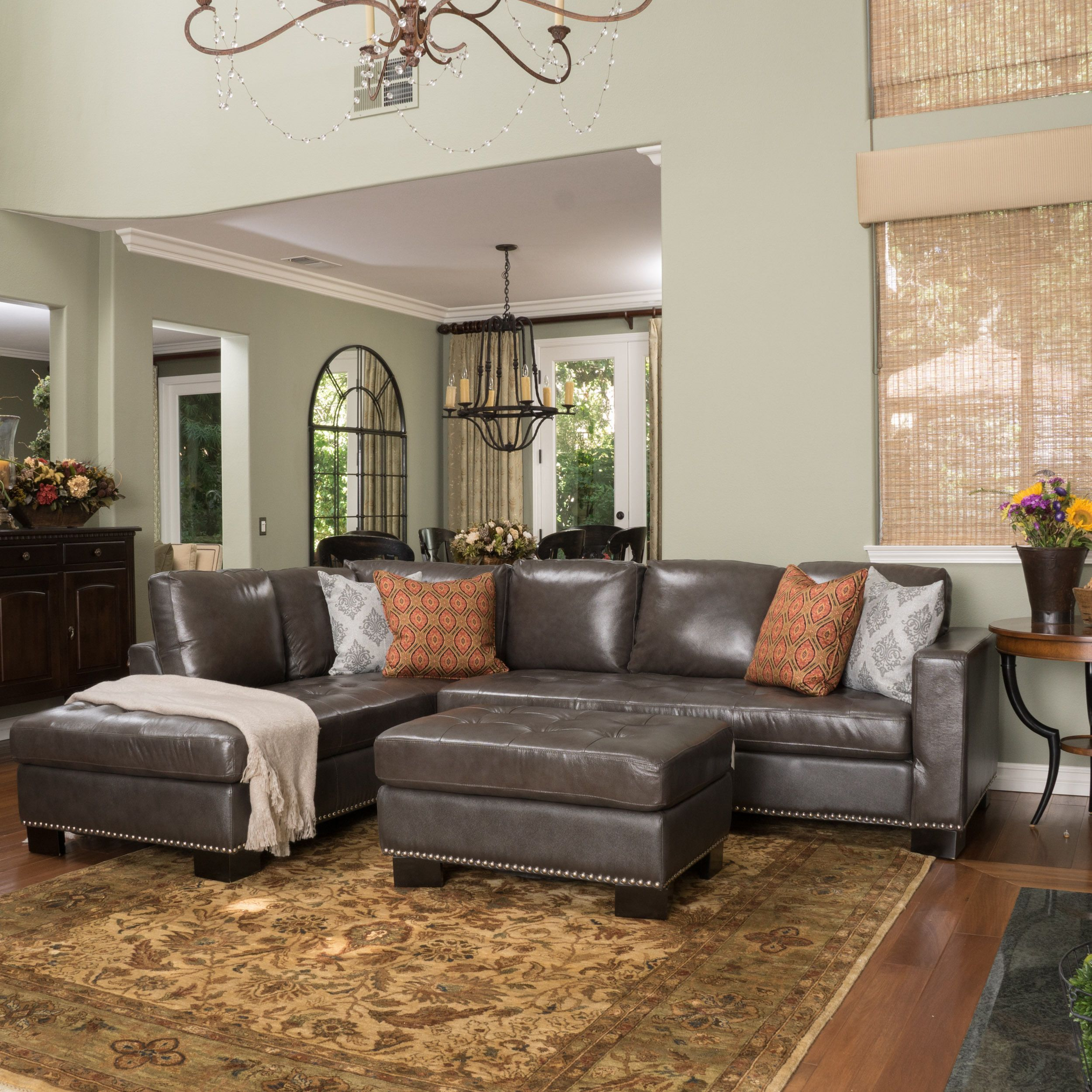 Violet Wine Leather Sectional Couch By Christopher Knight