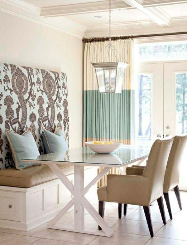 Küche Design Esstisch Stühle Sitbank Wand Blau