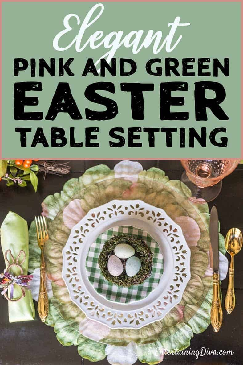 This pink, white and green table setting is perfect for spring. Whether you are hosting Easter dinner or a holiday brunch, this pretty tablescape will give you lots of your spring holiday decorating ideas. #entertainingdiva #tablesetting #entertaining  #easter #tablescapes