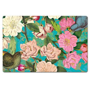 Floral Teal Paper Placemats now featured on Fab.