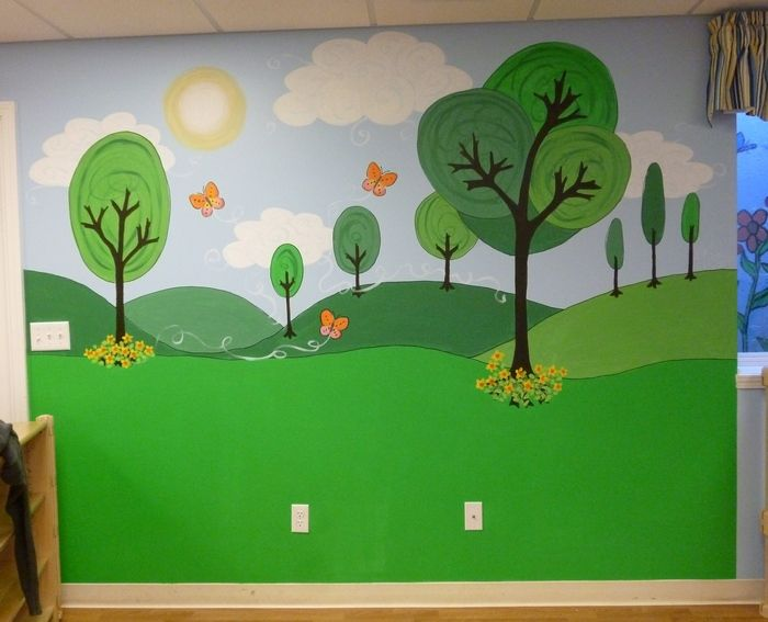 More Day Care Murals Cartoon Park Mural Playroom Mural Kids